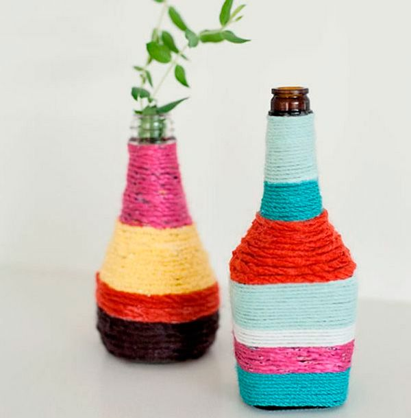Botellas-decoradas-con-lana-DIY-wool-bottle - Recycling