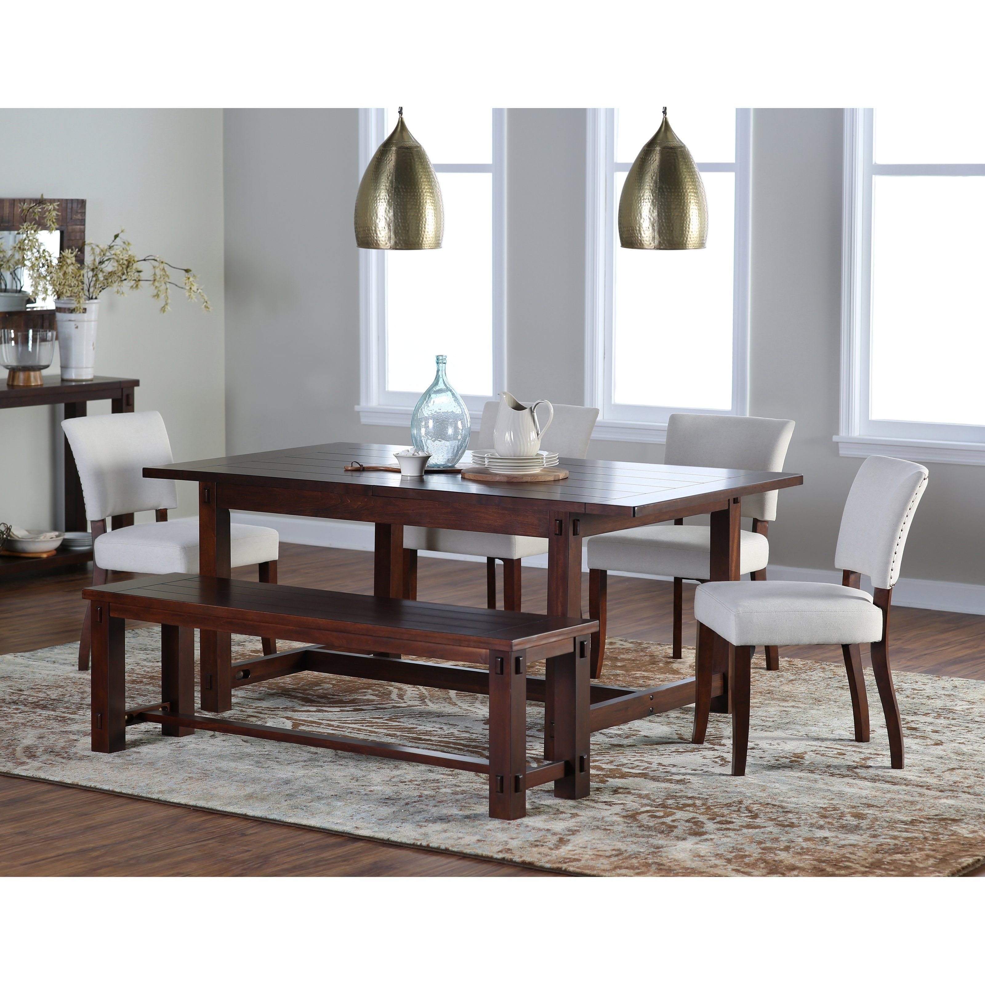 Love the 2 brass light fixtures and dining chairs. Belham Living ...