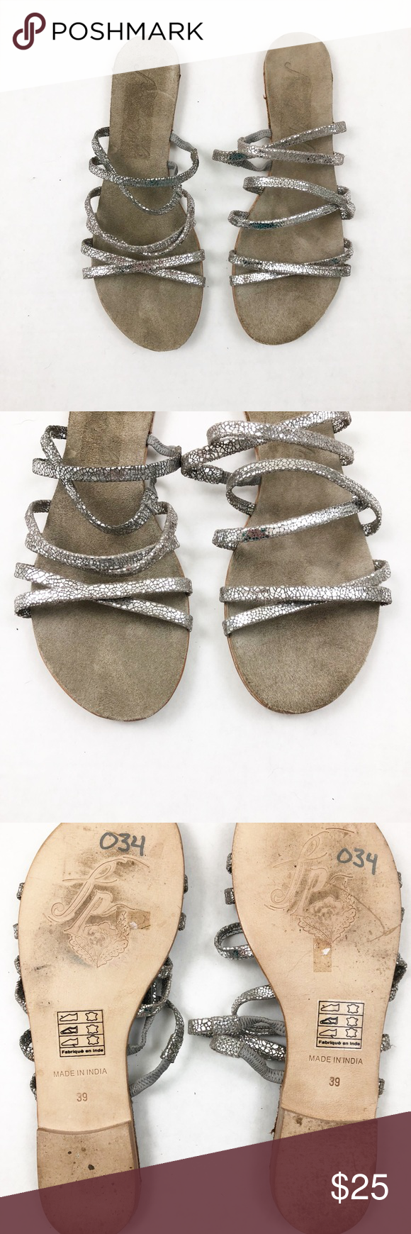 8cfbba7481dd Super cute! Metallic straps. Slip on style. Leather sole. Size is Euro 39  Free People Shoes Sandals