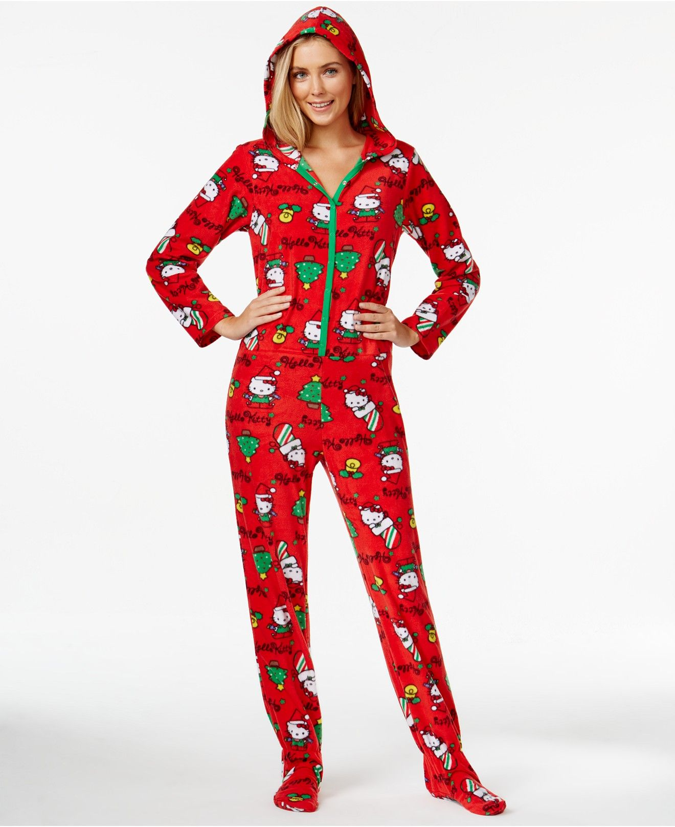 Hello Kitty Ugly Christmas Holiday Hooded Footed Pajamas