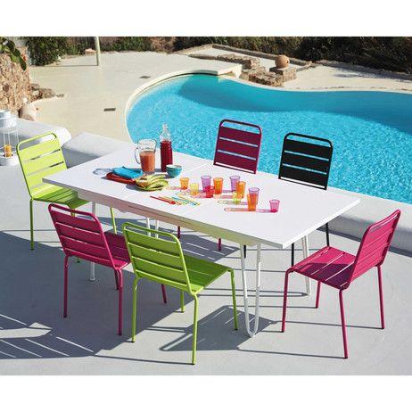 Table De Jardin A Rallonge En Metal Blanche L 150 Cm Swing Maisons Du Monde Chaise De Jardin Chaise Jardin Metal Table Jardin Metal