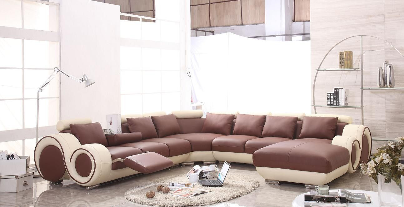 4087 Modern White And Red Leather Sectional Sofa   Leather Sectional Sofas, Leather  Sectional And Modern