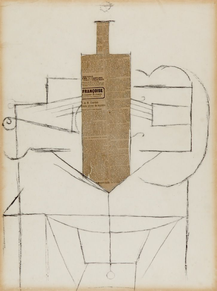 Pablo Picasso / Bottle and Violin on a Table / 3 December 1912 or later / Papiers collés and charcoal on paper / 61 x 47,8 cm / New Orleans Museum of Art: The Muriel Bultman Francis Collection, 86.275 / ©Successió Pablo Picasso, VEGAP, Madrid 2012
