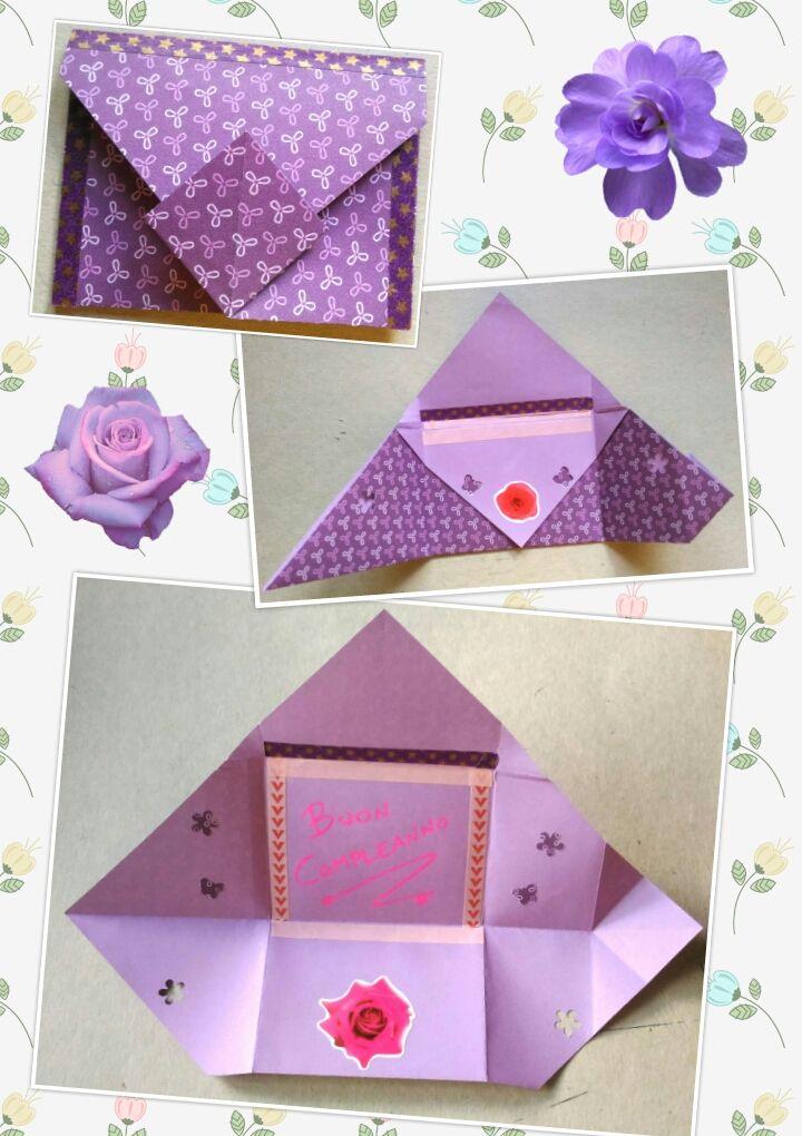 Super biglietto auguri compleanno fiori busta origami   Origami UV63