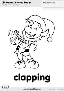 Christmas Verbs Free Coloring PagesColoring