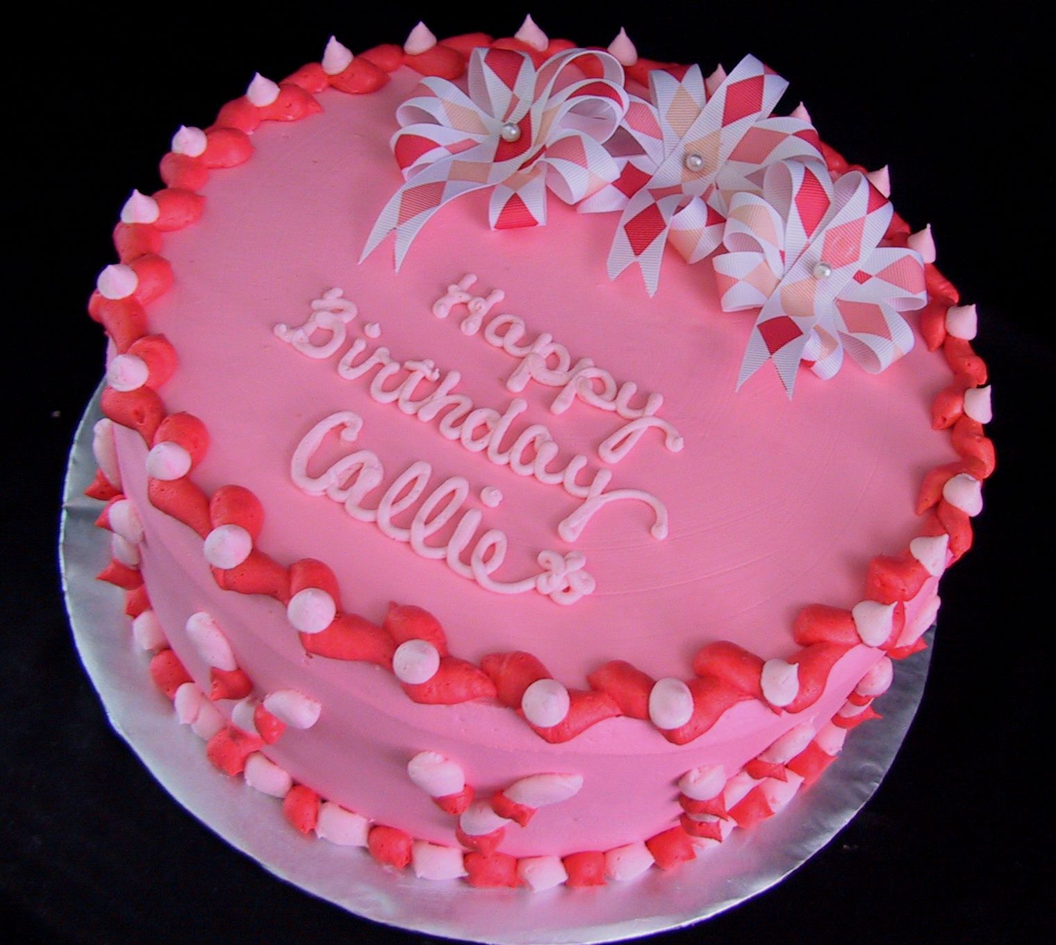 Image detail for Coral Pink and Ribbon Flower Birthday Cake The