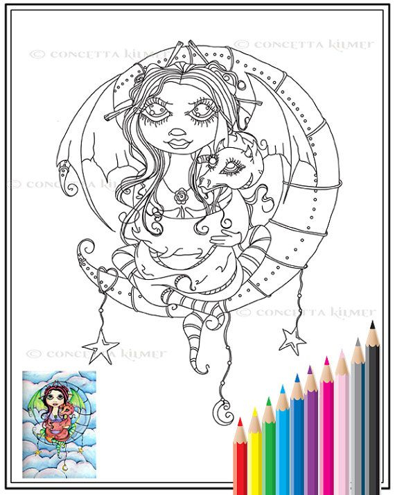 embrace your dragon fairy fantasy by enchantedezignstudio on etsy coloring book - Coloring Pages Dragons Fairies