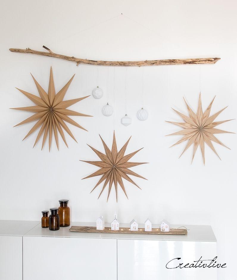 DIY einfache Sterne und Plissees aus Holz und Kraftpapier - CreativLIVE #fensterdekoweihnachten