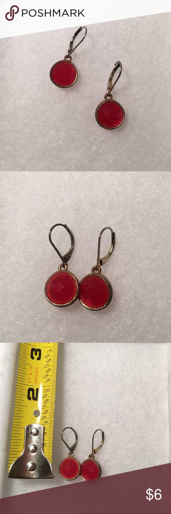 SALE Red Earrings Super cute earrings and worn a few times. Look great with anything and can be transitional. Has clasp backs attached. Charming Charlie Jewelry Earrings