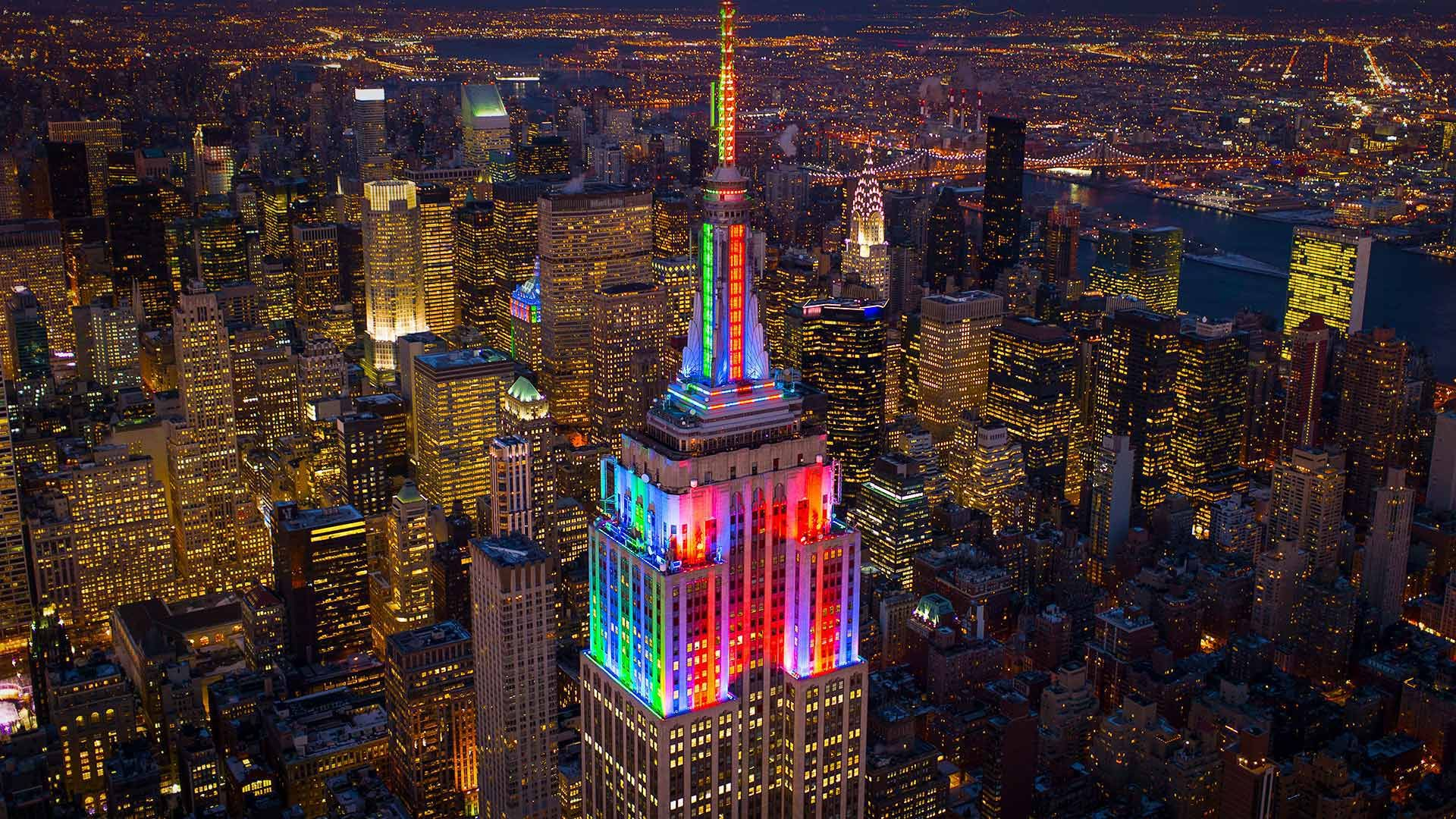 The Empire State Building Lit Up In Honor Of Pride Week In 2014 New York City C C Taylor Crothers Offset By Shutters Empire State Building Empire Pride Week