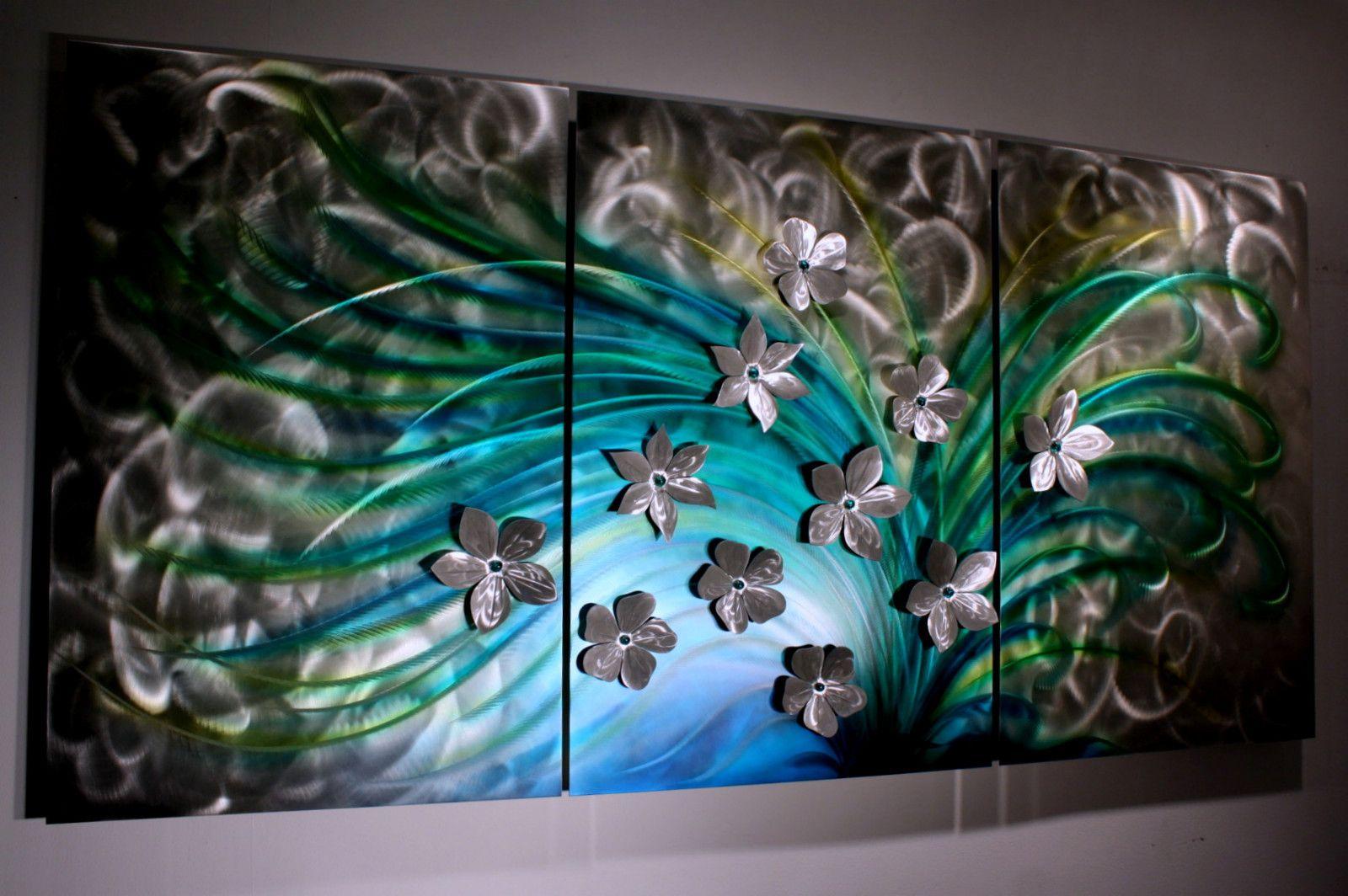 Floral art metal wall sculpture abstract home decor painting metal modern wall art original art design by alex kovacs ak432