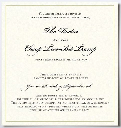 WHAT A BISHHH PWAHAHA Funniest Wedding Invitation Sadly I