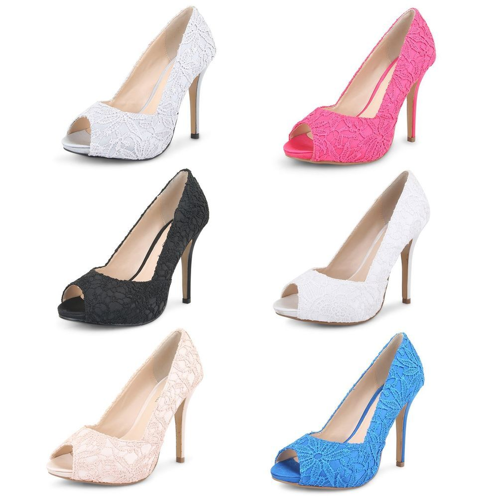 Ladies Peep Toe Court Shoes Womens High Heel Evening Party Wedding Lace Pumps #OnlineAvenue #CourtShoes #Evening