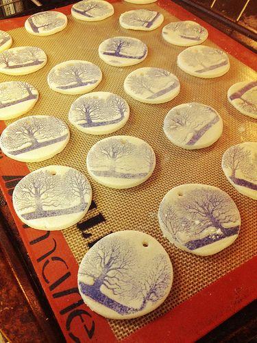 Stamped salt dough ornaments