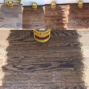 Minwax Wood Stain On Red Oak Flooring From Left To Right Classic Gray Ebony Dark Walnut Espresso Jacobean