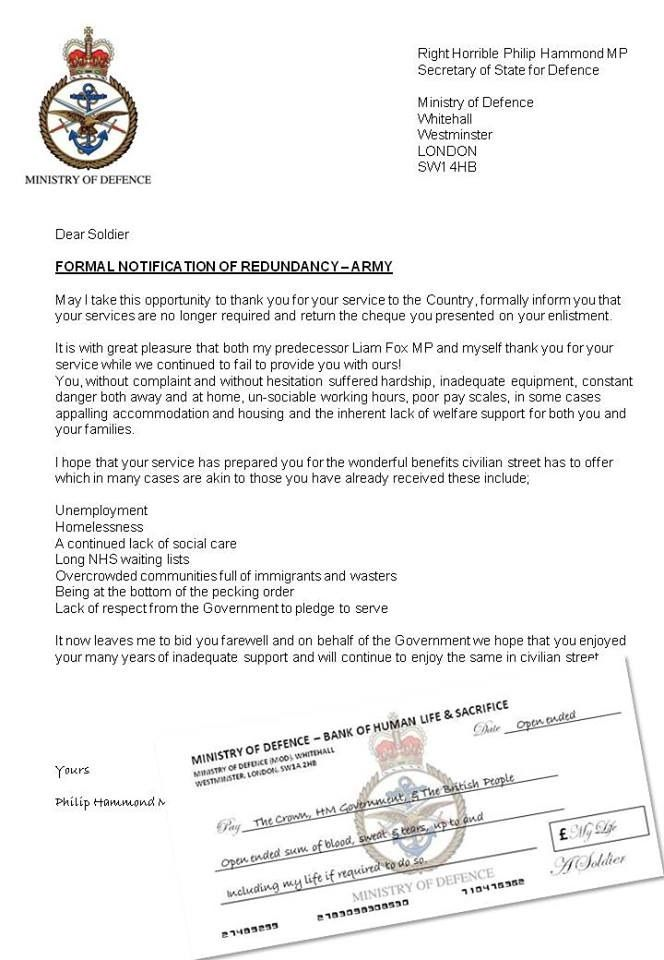 British army redundancy letter Interesting Pinterest British - hardship letter