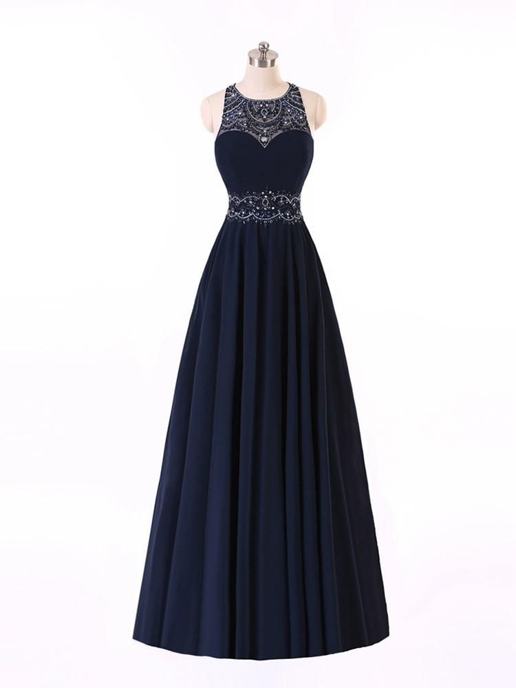 Sexy Dark Navy Prom Evening Dresses, Cheap ,Jewel Sheer Neck ,Crystal ,Beaded ,Chiffon, Backless, Beach ,Sequined ,New ,prom dresses long cheap , a line , backless , prom dresses ,