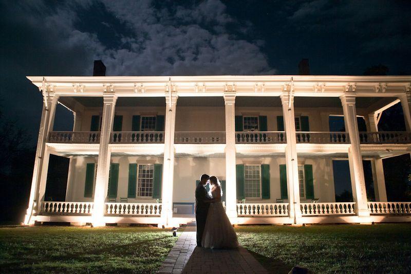 Beautiful night shot of Anna & Andrew at Carnton Plantation, Franklin, TN