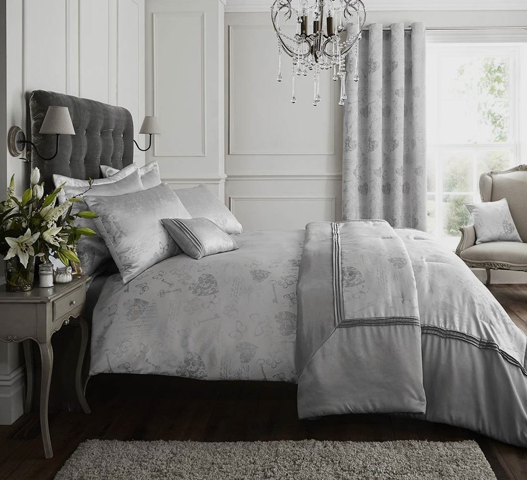 Grey Linen Bed Valance : Silver grey quilt duvet cover bedding bed set linen or