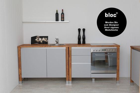 Modulküchen bloc Küchenmodule Arbeitsplatte Buche Massiv Küche