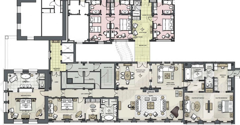 hotel suites floor plans | Luxury Presidential Penthouse Suite | The ...