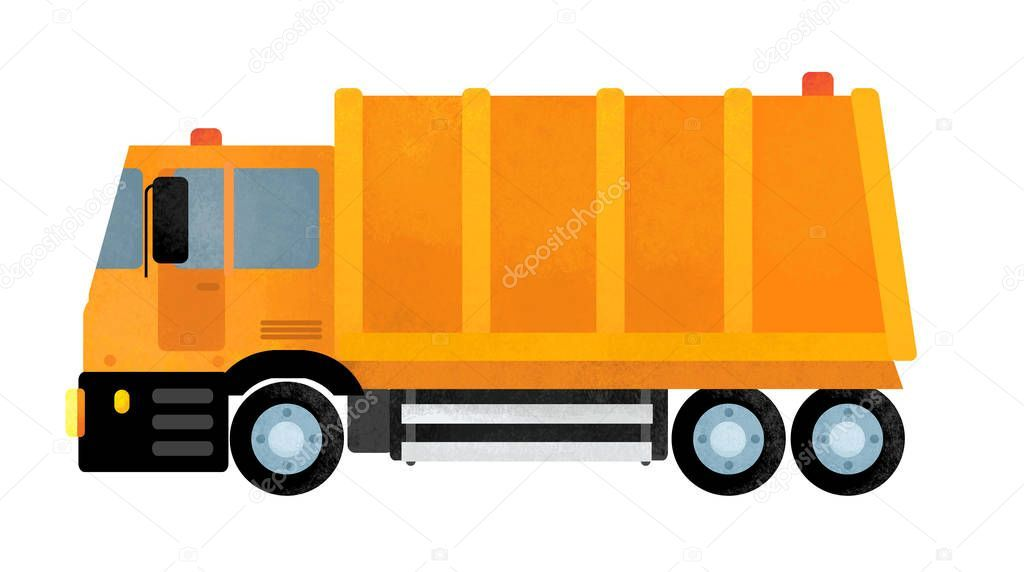 Cartoon Happy And Funny Garbage Truck On White Background Illustration For Child Ad Funny Garbage Carto Children Illustration Garbage Truck Toy Trucks