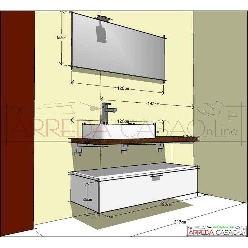 Mobile Bagno Compab B201 top legno massello rovere bollito ...