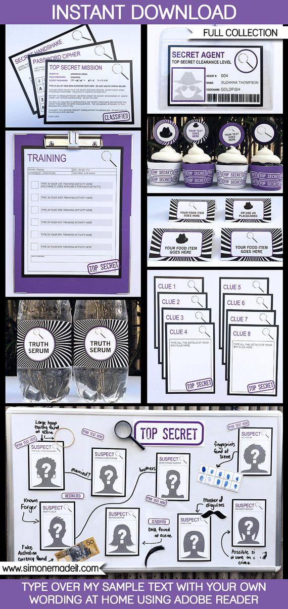 spy party theme invitations decorations full printable party