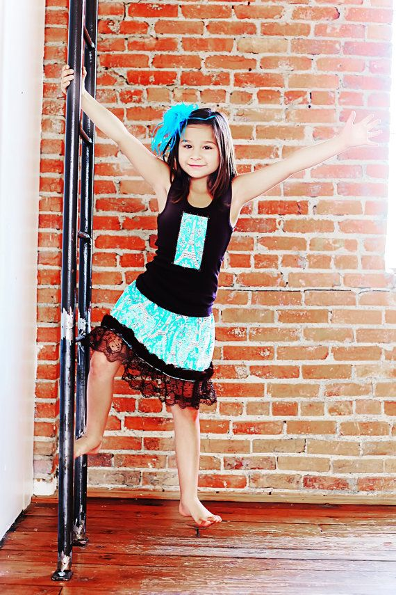 Turquoise and Brown Paris Top and Matching Eiffel Tower Skirt