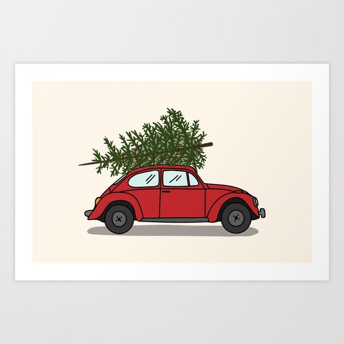 Red car with christmas tree Art Print