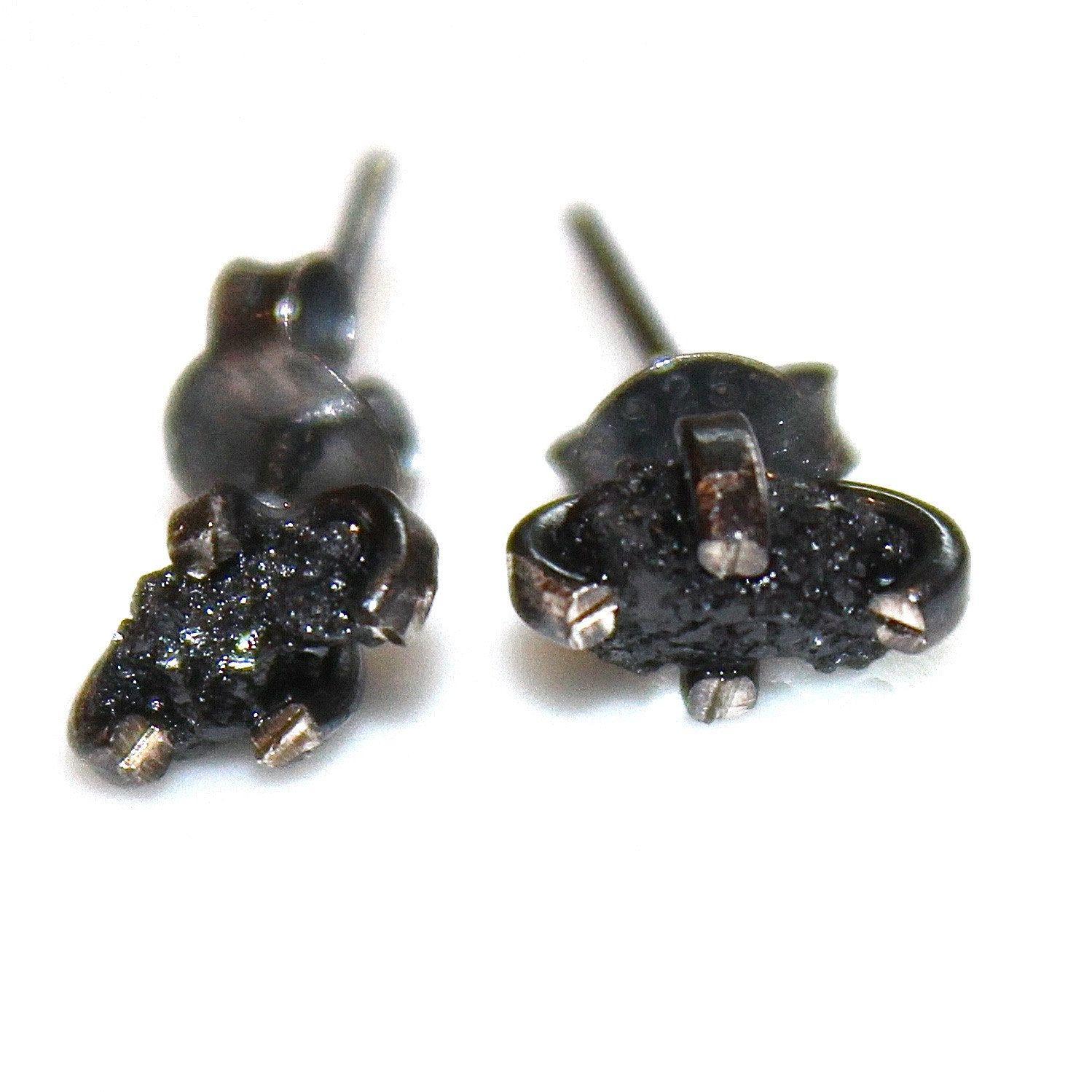 Tiny Black Diamonds Raw Diamond Earring Rough Diamond Studs Real