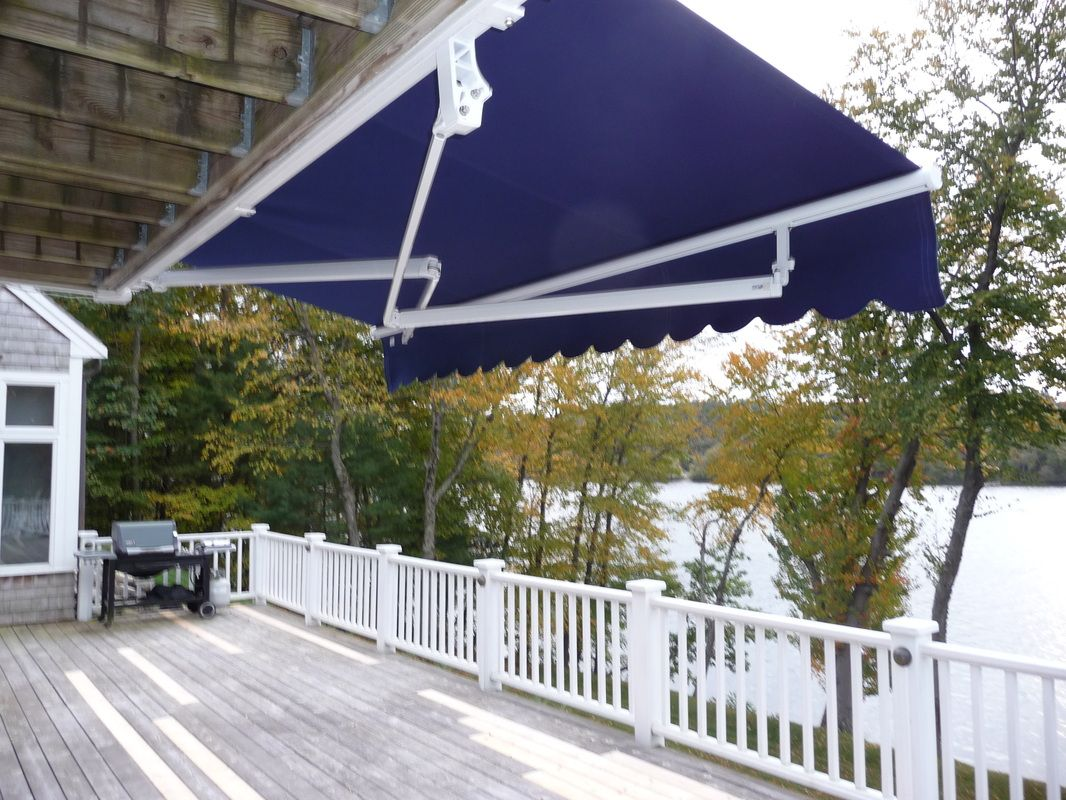 I Love The Deep Blue Color Of This Roll Up Awning My Husband And I Are Remodeling Our Patio So I Am Looking For The Perfect Pro Awning Patio Patio Furniture
