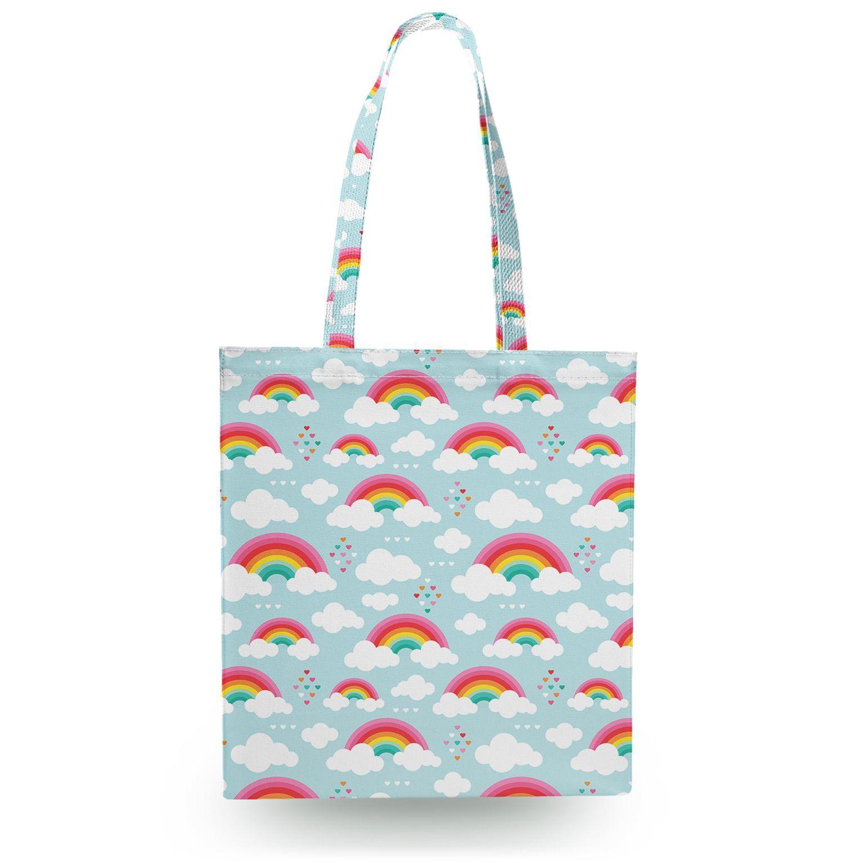 rainbow dreams canvas tote bag 16x16 inch book gym bag canvas
