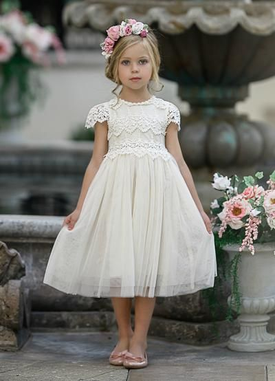 Photo of Luciana Cap Sleeve Lace Flower Girl Dress Ivory