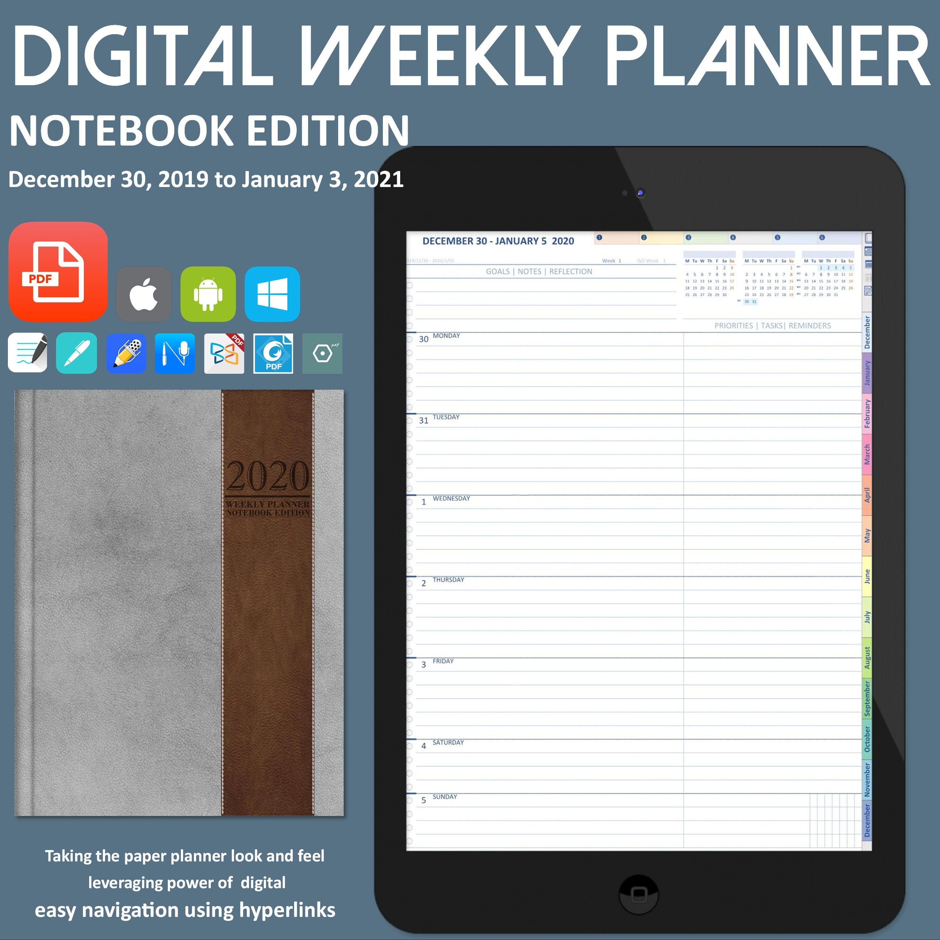2020 Weekly Digital Planner For GoodNotes. Notability. iPad Bullet Journal. Academic Planner. Digital Life Planner. Surface Pro and Android | Life ...