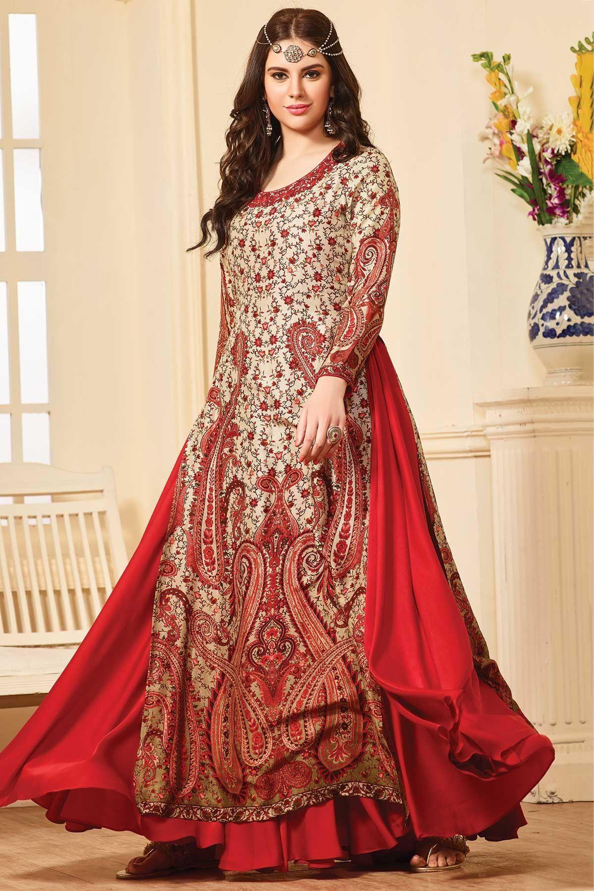Buy cream u red crepe printed flared salwar online designer