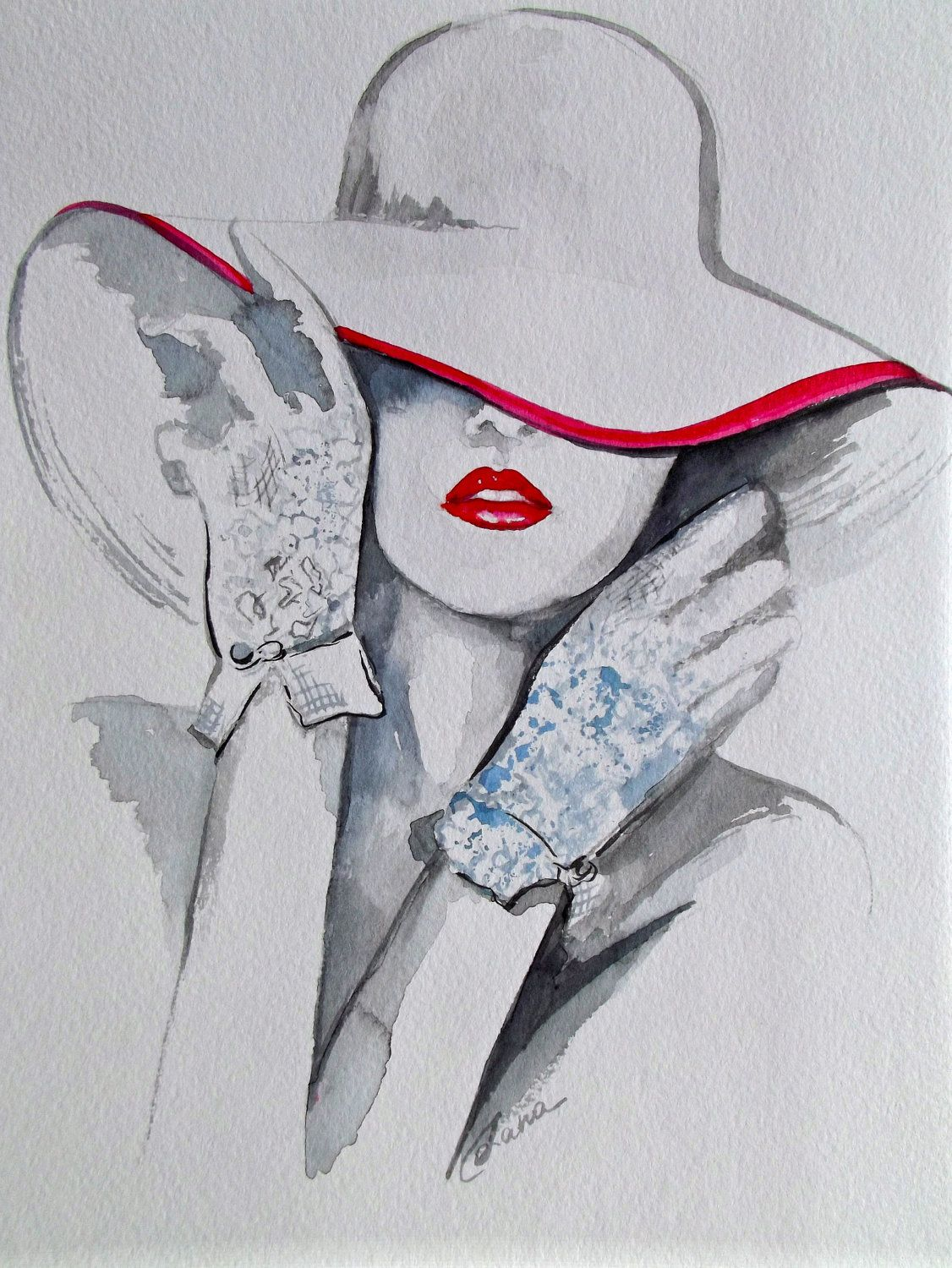 COLOR ❤ BLANCO + ROJO ♡ Chanel Fashion Illustration Art Original Watercolor  Painting by Lana e0e644b4ce712