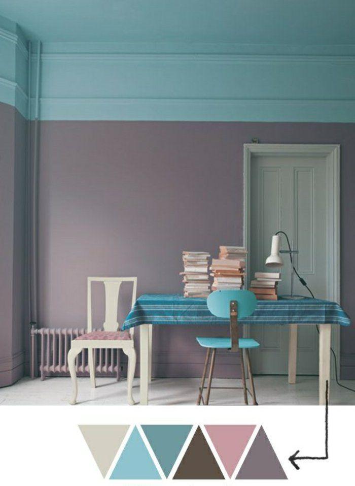 Déco Salon u2013 couleur de peinture pour salon mur blanc bleu chaise - peinture blanche pour mur