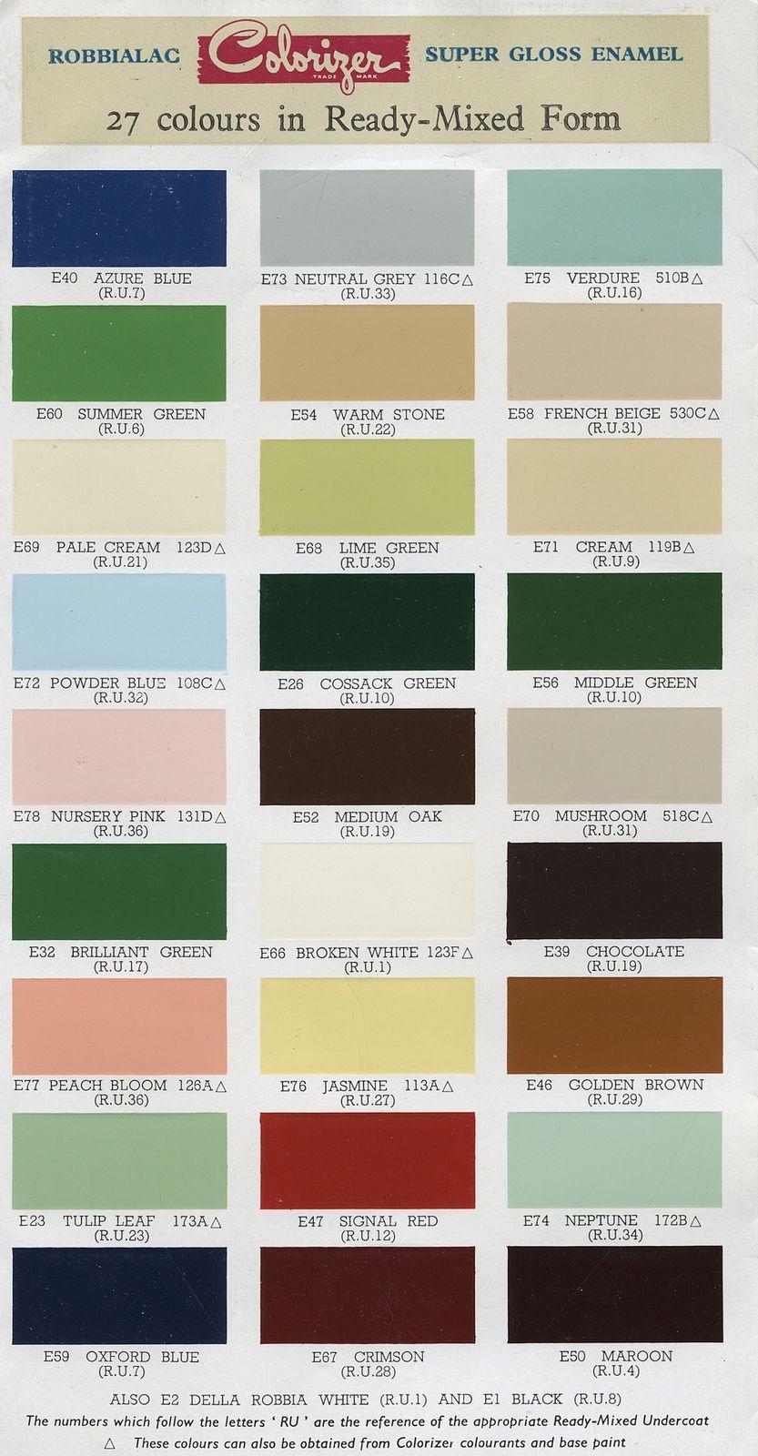 Robbialac Paint Brochure Super Gloss Enamel Green Paint Painting Colour Schemes
