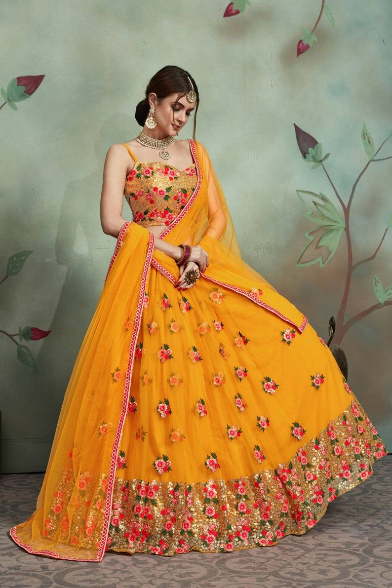 Amazing Mustard Yellow Color Floral Embroidery Des