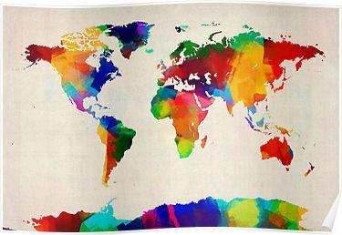 world maps kids posters
