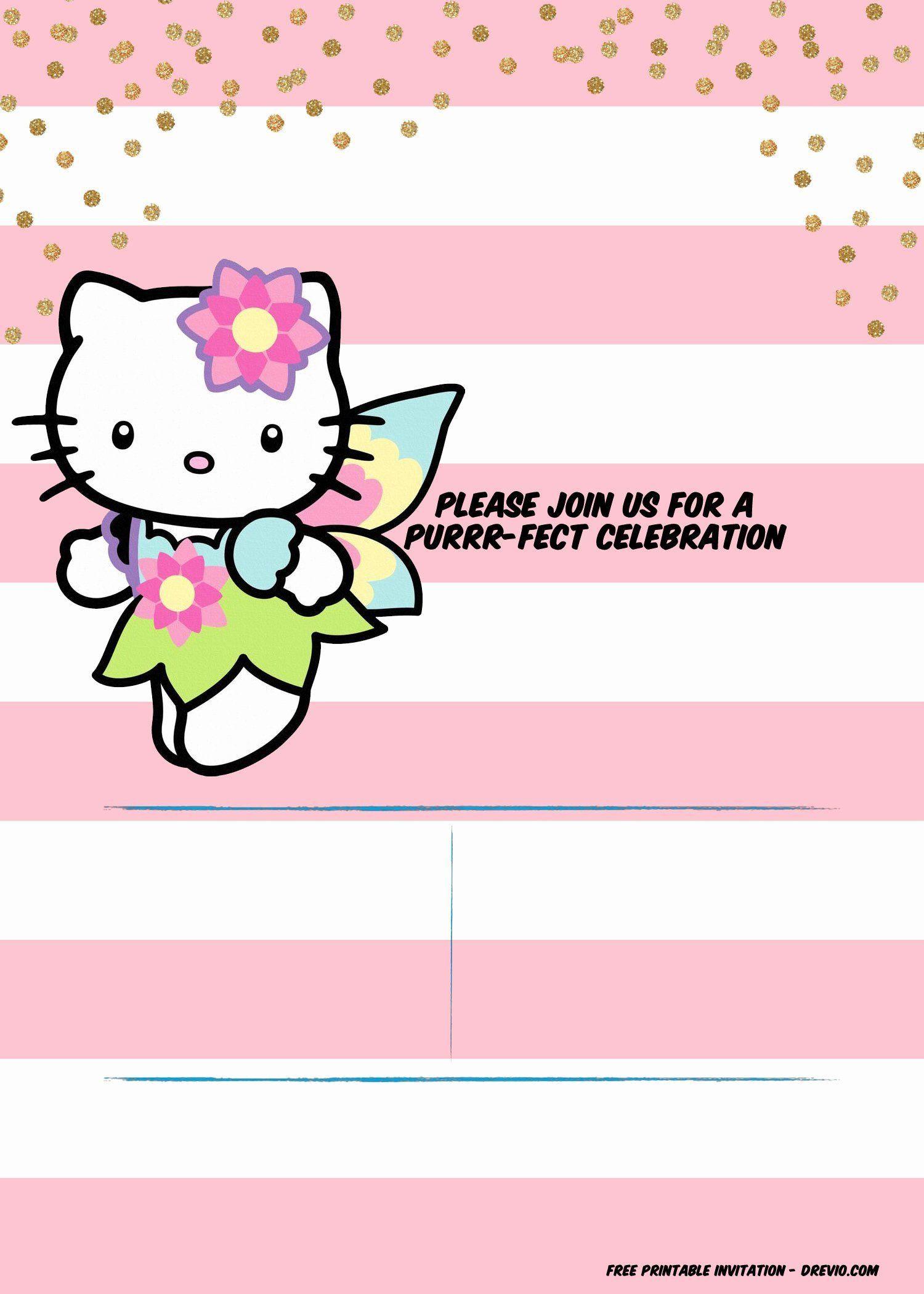 Hello Kitty 1st Birthday Invitation In 2020 Hello Kitty Invitation Card Hello Kitty Invitations Hello Kitty Birthday Invitations