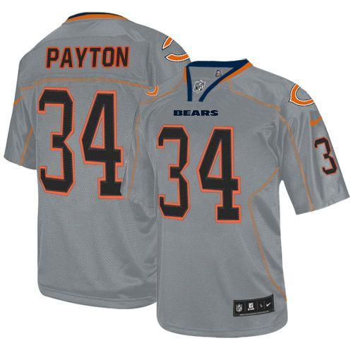 nike elite walter payton lights out grey mens jersey chicago bears 34 nfl