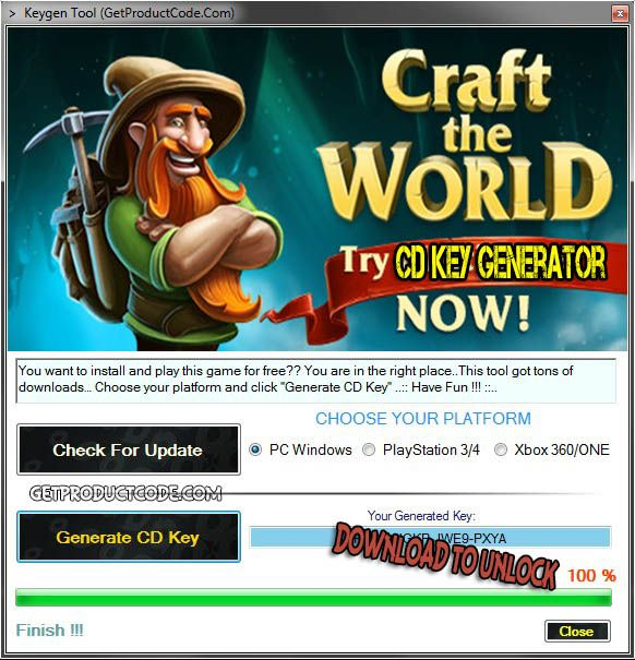 Craft The World CD Key Generator 2016