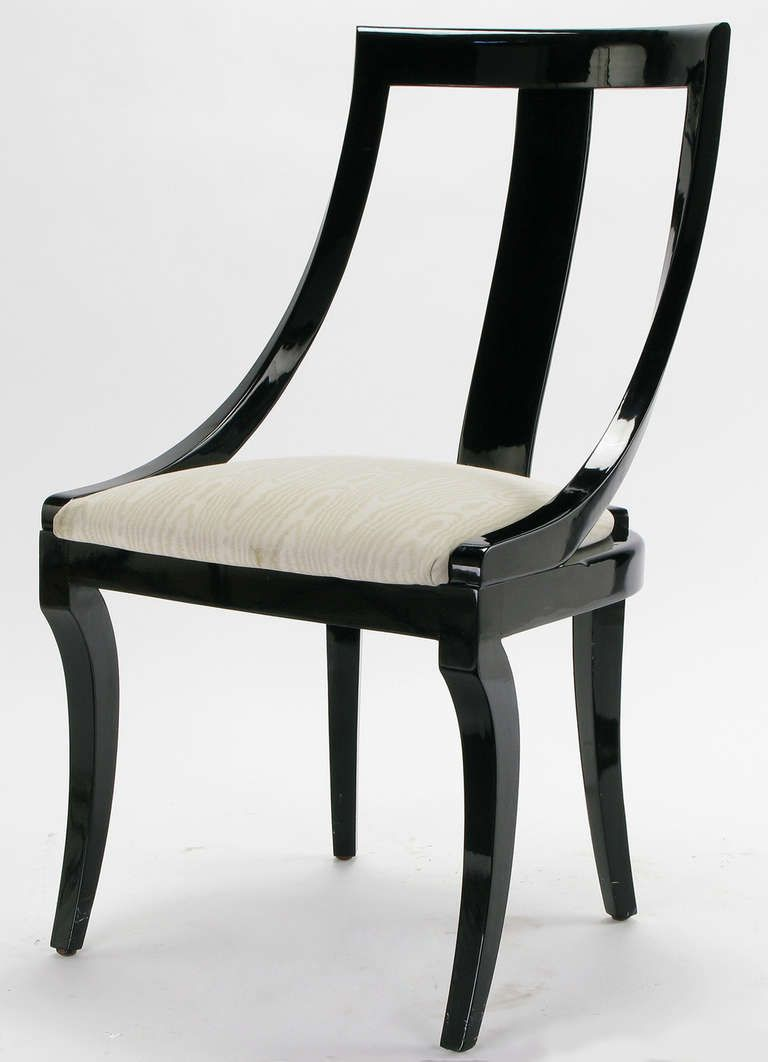 Six Italian Black Lacquer & Moire Dining Chairs | Dining chairs ...
