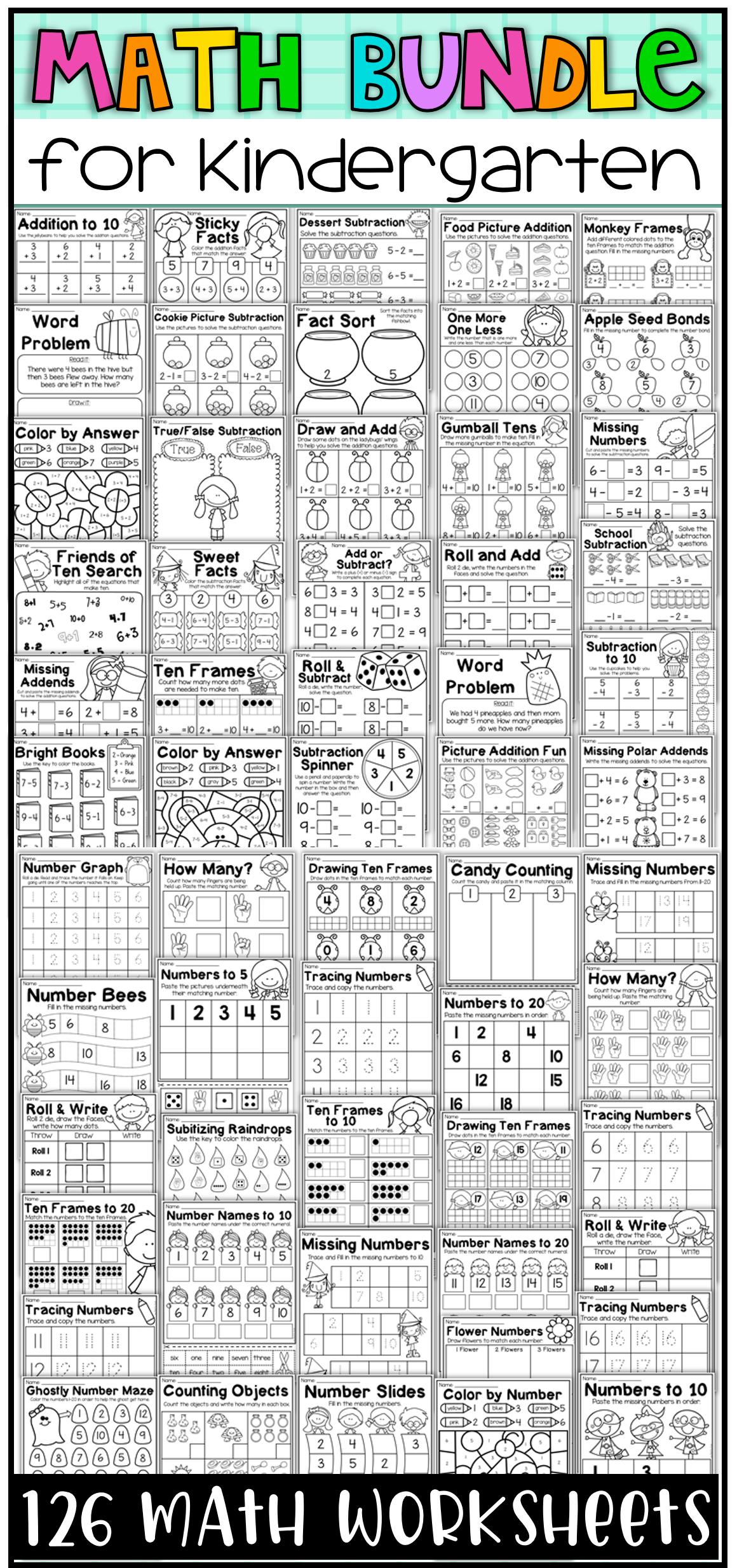 Kindergarten Math Worksheet Bundle