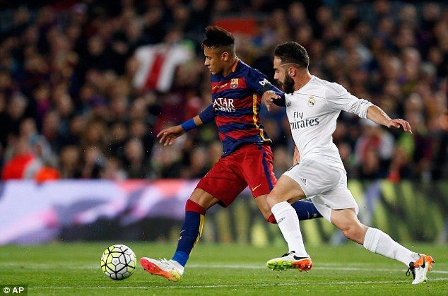 Madrid defenderDani Carvajal (right) tracks the run of Neymar during his side's 2-1 win at the Nou Camp