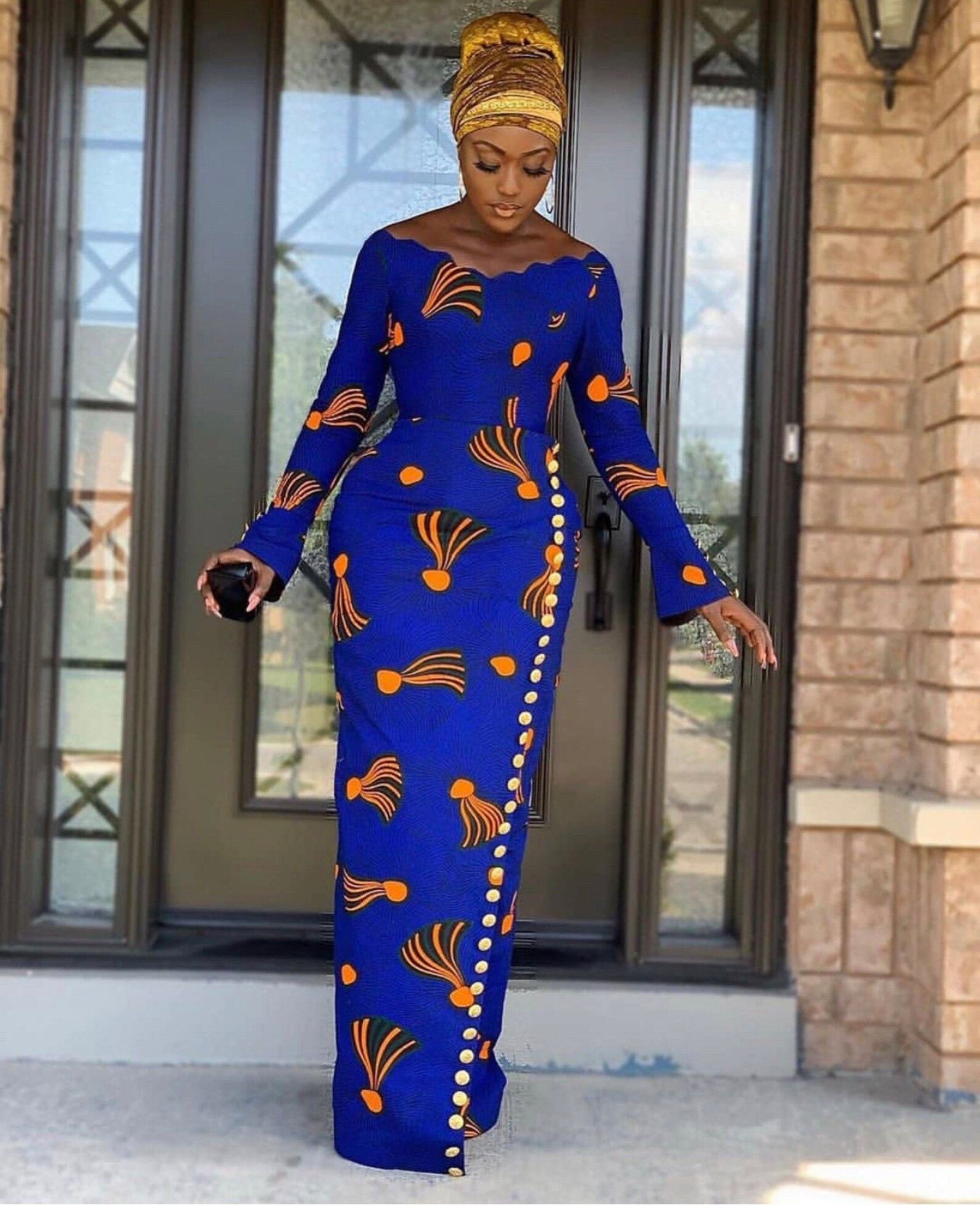 Lovely African Print Dress, Classic Ankara Dress,