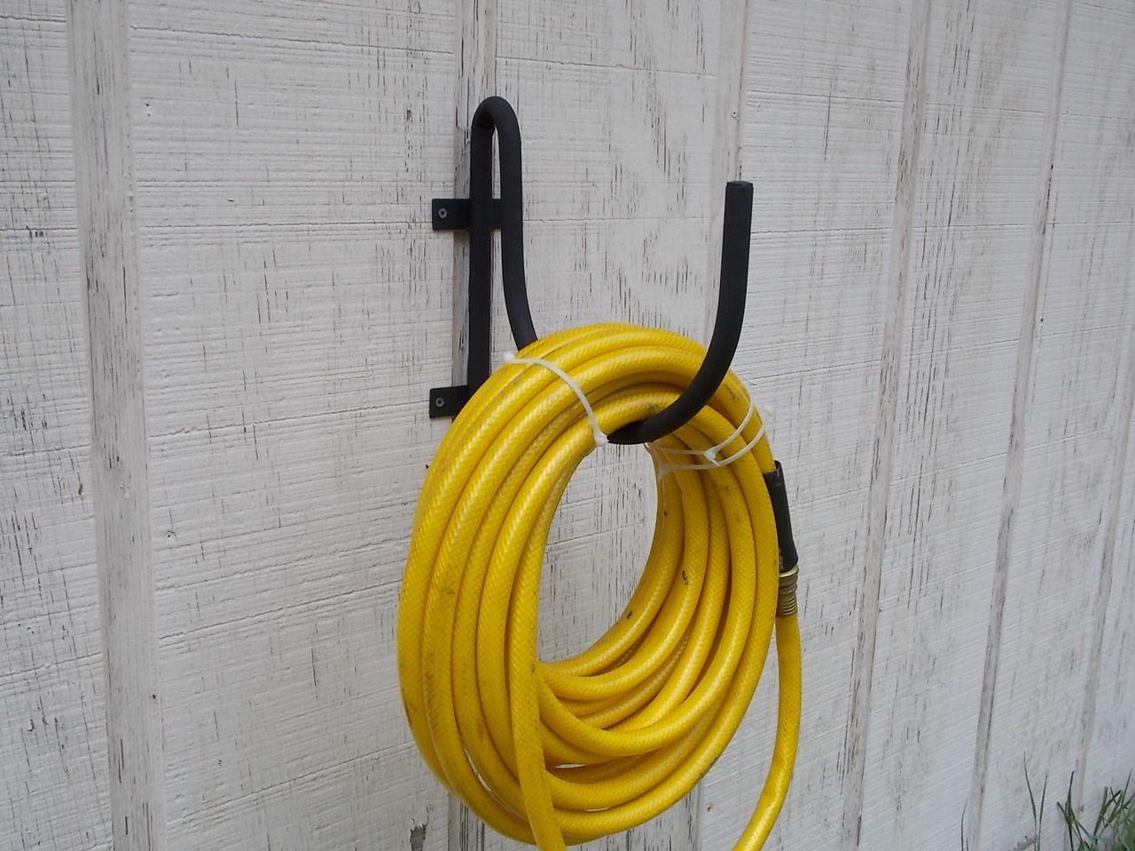 Wall mount garden hose holder black wrought iron | Garden hose ...