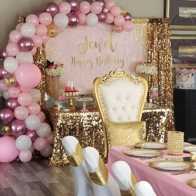 Pink And Gold Glitter Backdrop Adults Party Banner Poster Signage Personalised Printable Only Birthday Backdrop Pink And Gold Birthday Party Gold Birthday Party Birthday Backdrop